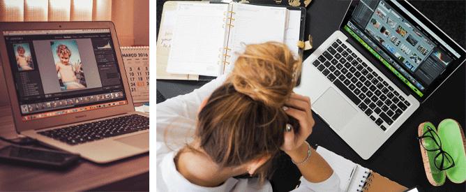 Collage depicting web design headaches